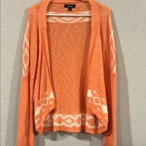 Orange Open Front Cardigan